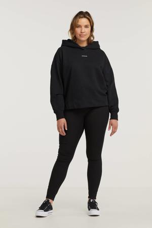hoodie met logo en borduursels zwart/wit
