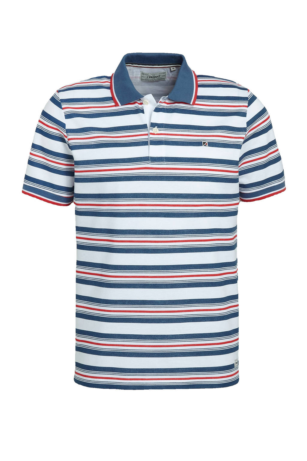 PRODUKT gestreepte regular fit polo Dean blauw/wit/rood, Blauw/wit/rood