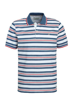 gestreepte regular fit polo Dean blauw/wit/rood