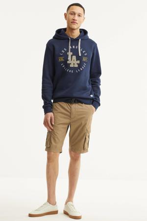 hoodie College met printopdruk donkerblauw