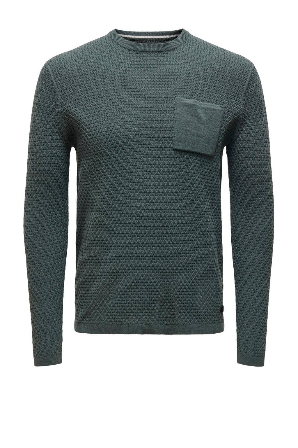 ONLY & SONS trui met textuur donkergroen, Donkergroen