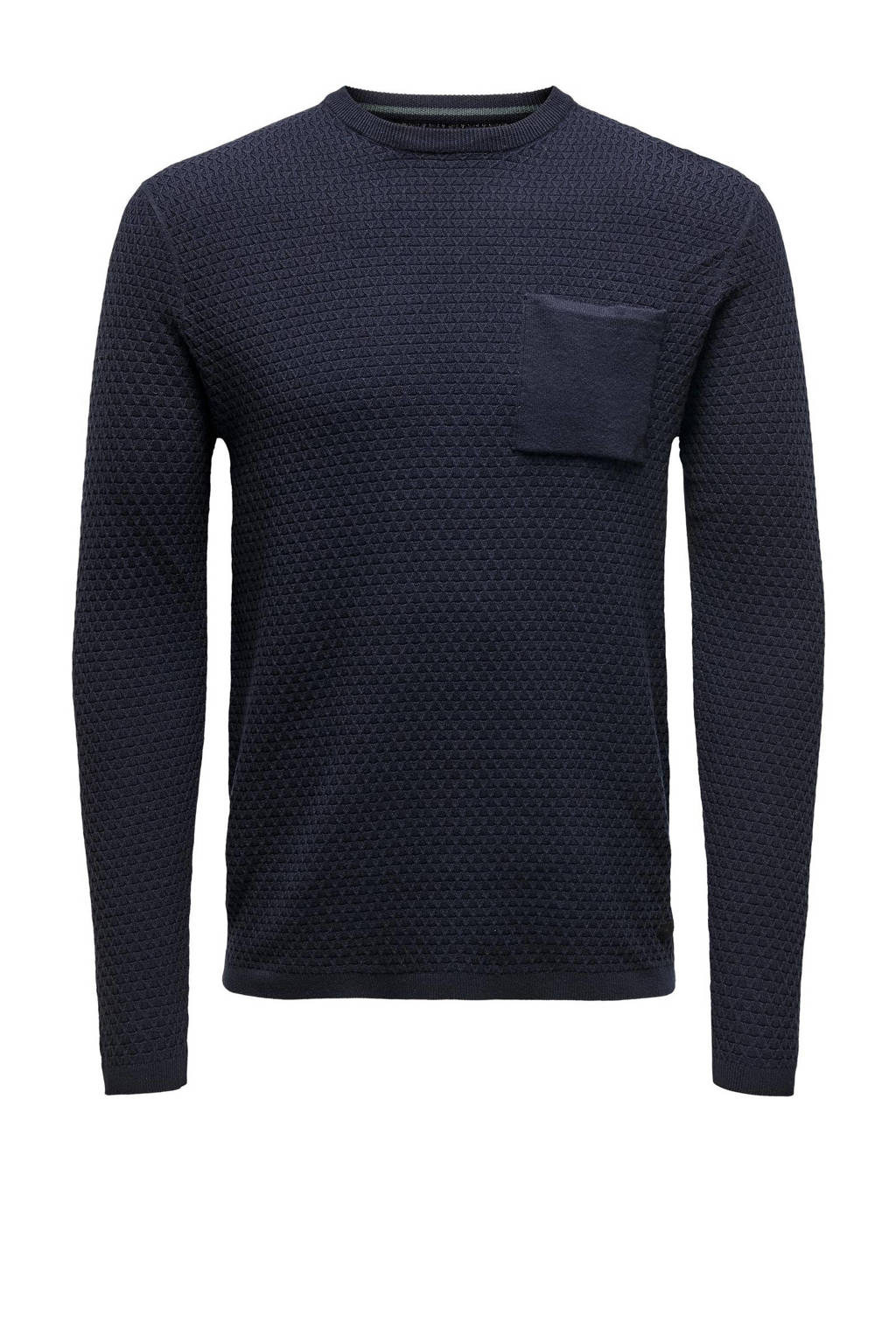 ONLY & SONS trui met textuur donkerblauw, Donkerblauw
