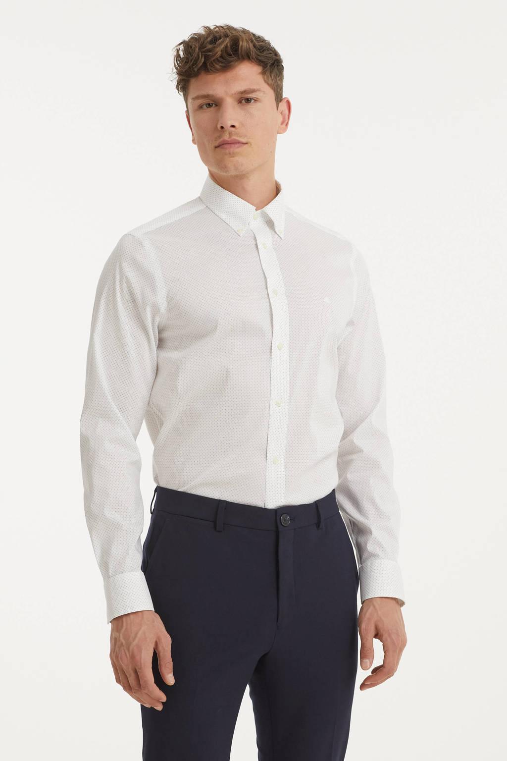 POLO Ralph Lauren slim fit overhemd met stippen wit/donkerblauw, Wit/donkerblauw