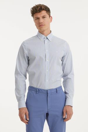 gestreept slim fit overhemd lichtblauw/wit/geel