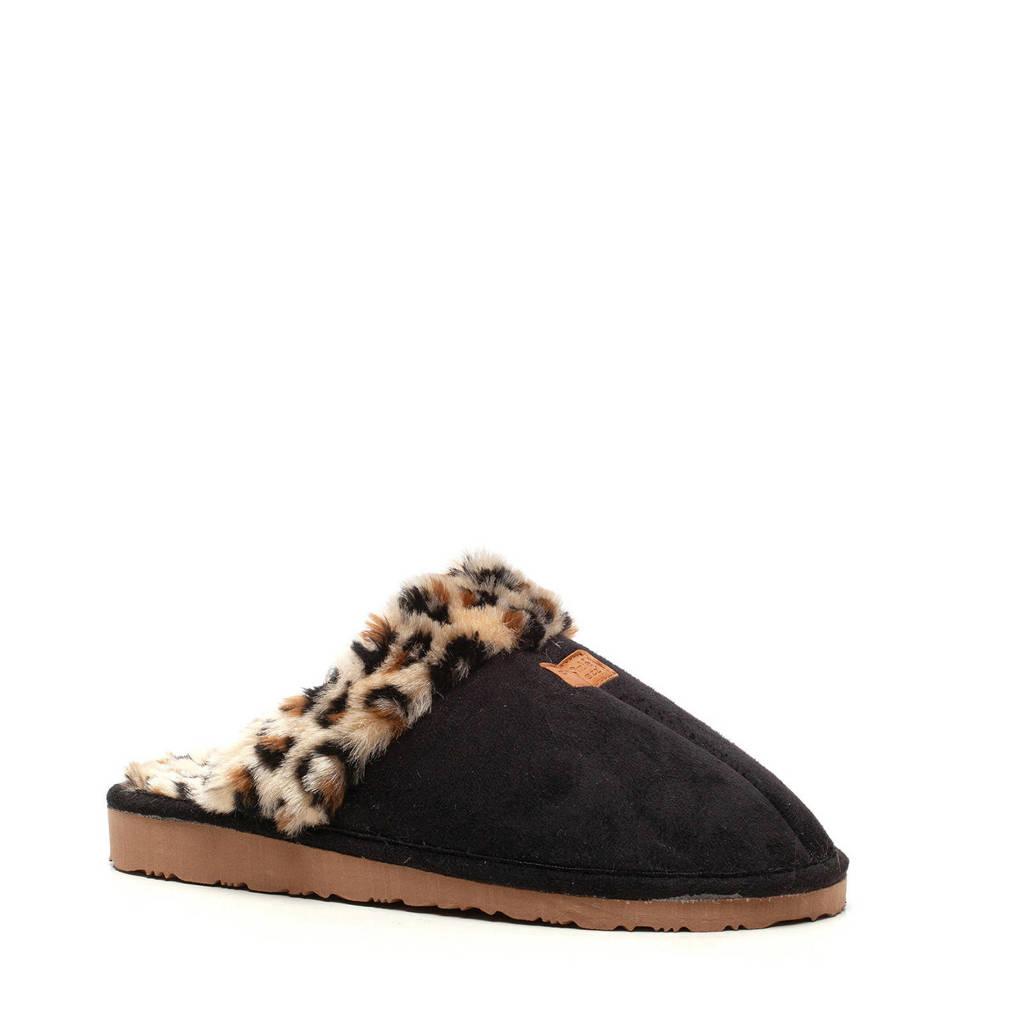 Scapino Thu!s pantoffels met panterprint zwart, Zwart/bruin
