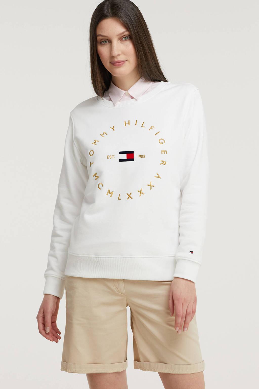 Tommy Hilfiger sweater van biologisch katoen wit/goud, Wit/goud