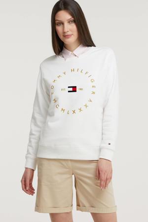 sweater van biologisch katoen wit/goud