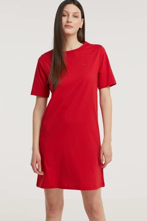 T-shirtjurk van biologisch katoen rood/donkerblauw/wit