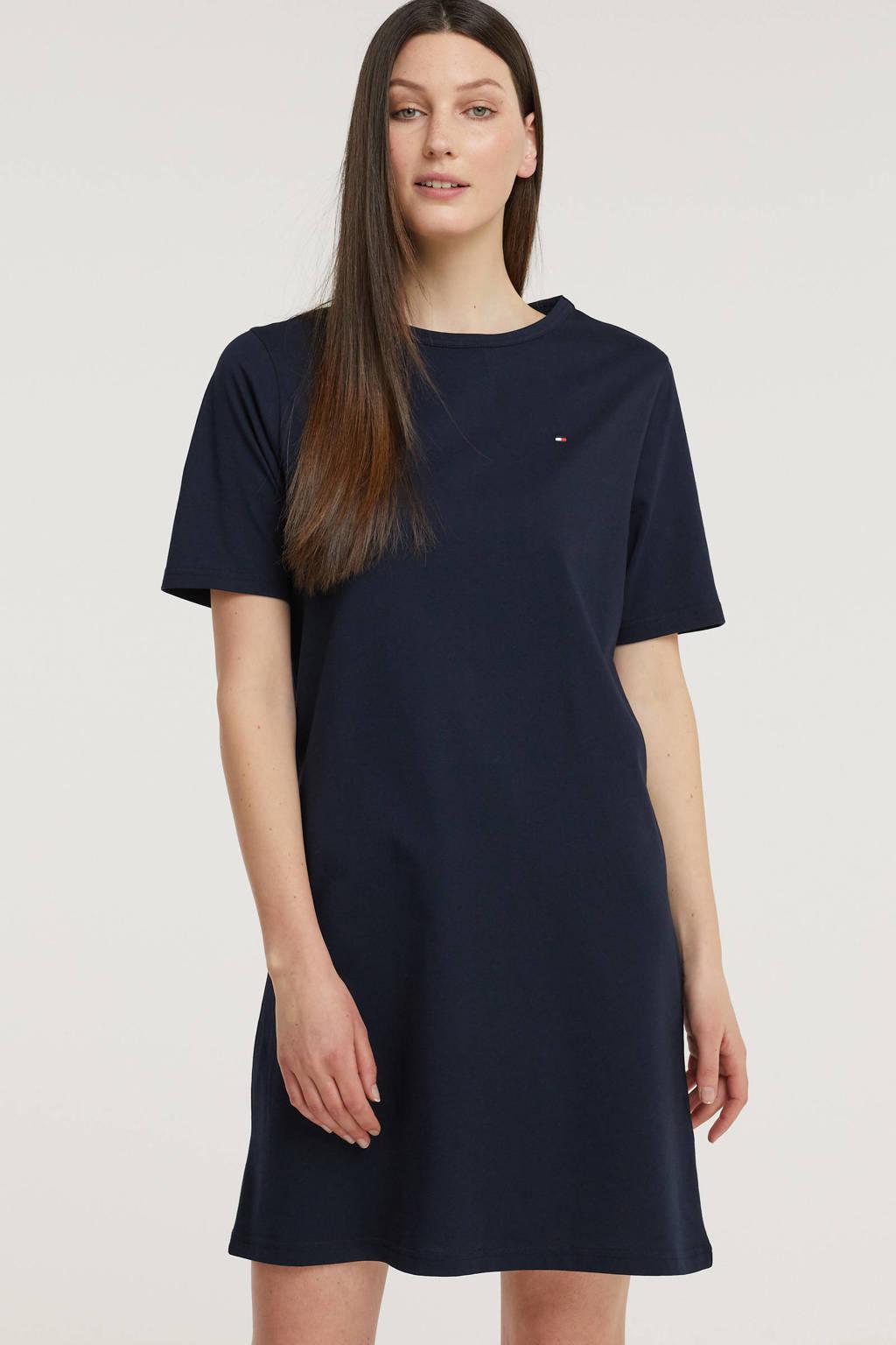 Tommy Hilfiger T-shirtjurk van biologisch katoen donkerblauw/rood/wit, Donkerblauw/rood/wit