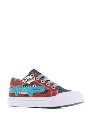Alligator  sneakers blauw/rood