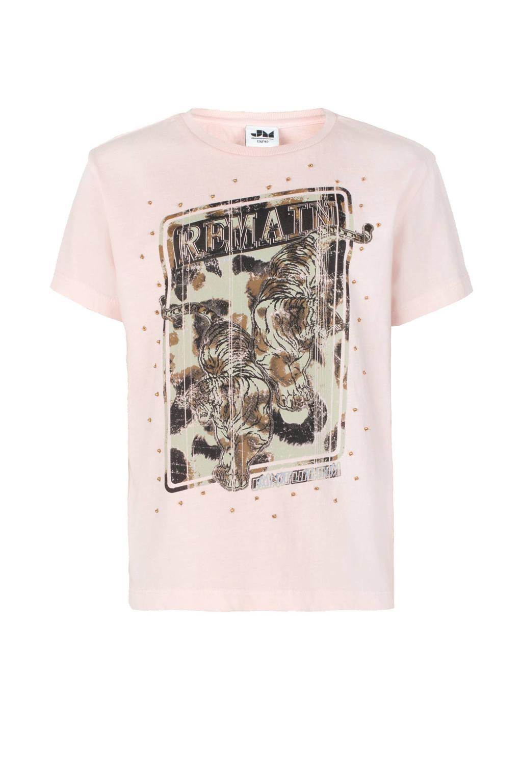 Jill & Mitch by Shoeby oversized fit T-shirt Nairobi met printopdruk lichtroze, Lichtroze
