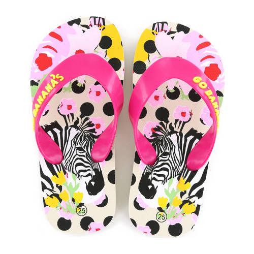 Go Banana's Zebra teenslippers roze/wit