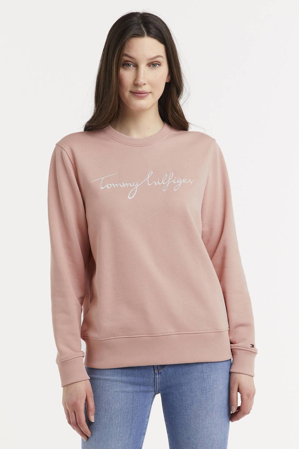 Tommy Hilfiger trui met logo en borduursels lichtroze, Lichtroze/wit