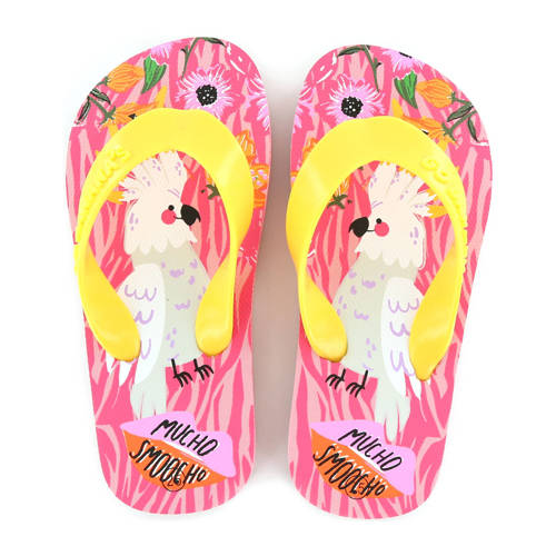 Go Banana's Mucho Smoocho teenslippers geel/roze
