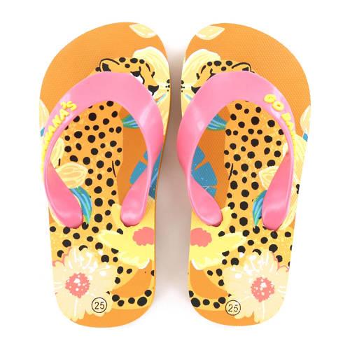 Go Banana's Leopardo teenslippers roze/oranje