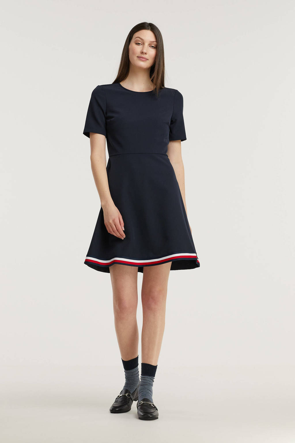 Tommy Hilfiger A-lijn jurk donkerblauw/wit/rood, Donkerblauw/wit/rood