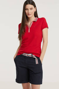 Tommy Hilfiger polo met borduursels rood/donkerblauw/wit, Rood/donkerblauw/wit