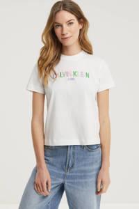 CALVIN KLEIN JEANS T-shirt met logo en borduursels wit/groen/paars, Wit/groen/paars