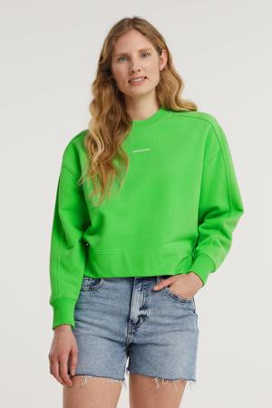 sweater van biologisch katoen groen/wit