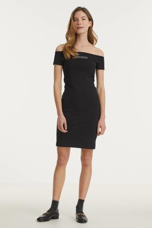 off shoulder jurk met logo zwart