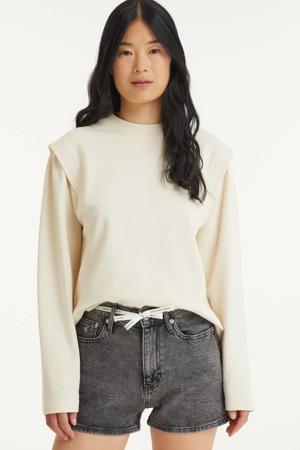 high waist jeans short 1bz denim grey