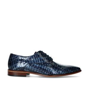 lakleren veterschoenen met crocoprint donkerblauw