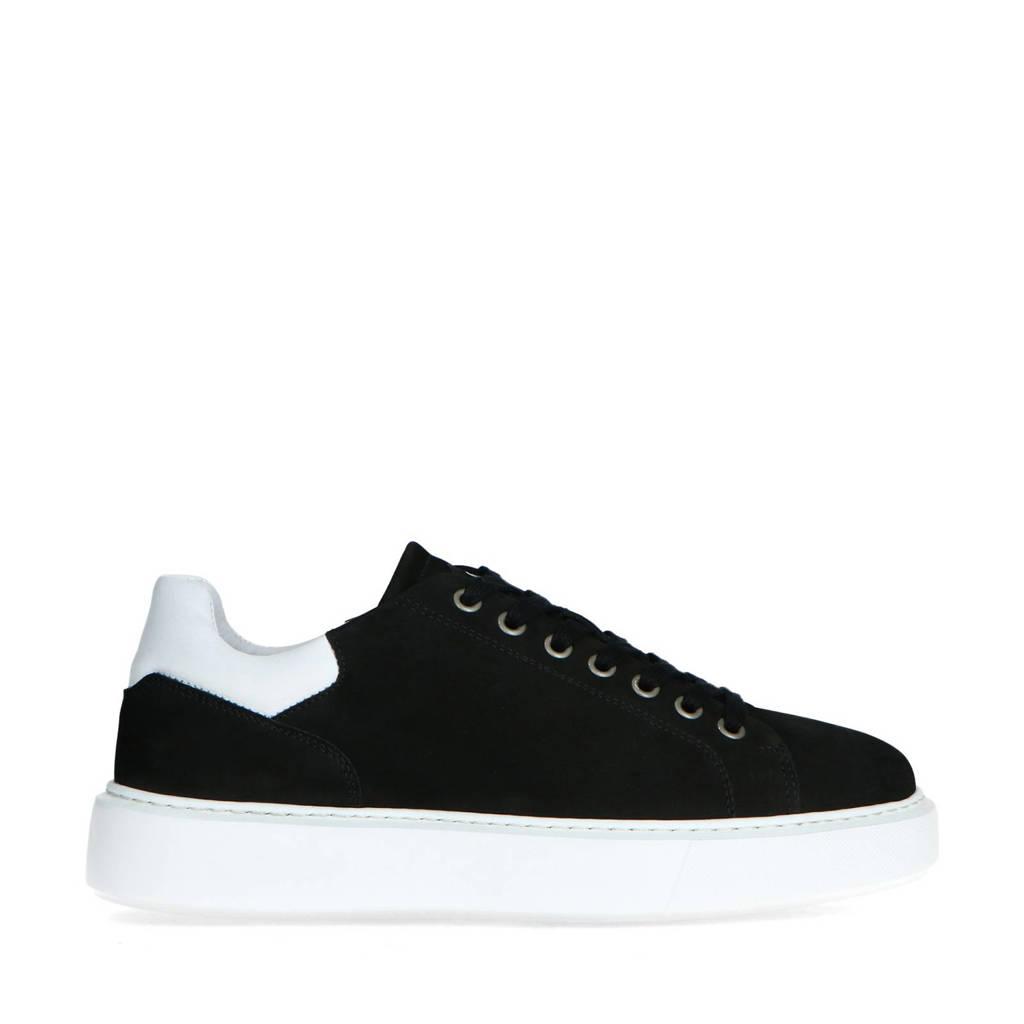 Sacha   nubuck sneakers zwart, Zwart/wit