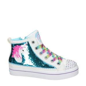 hoge sneakers met pailletten wit/blauw