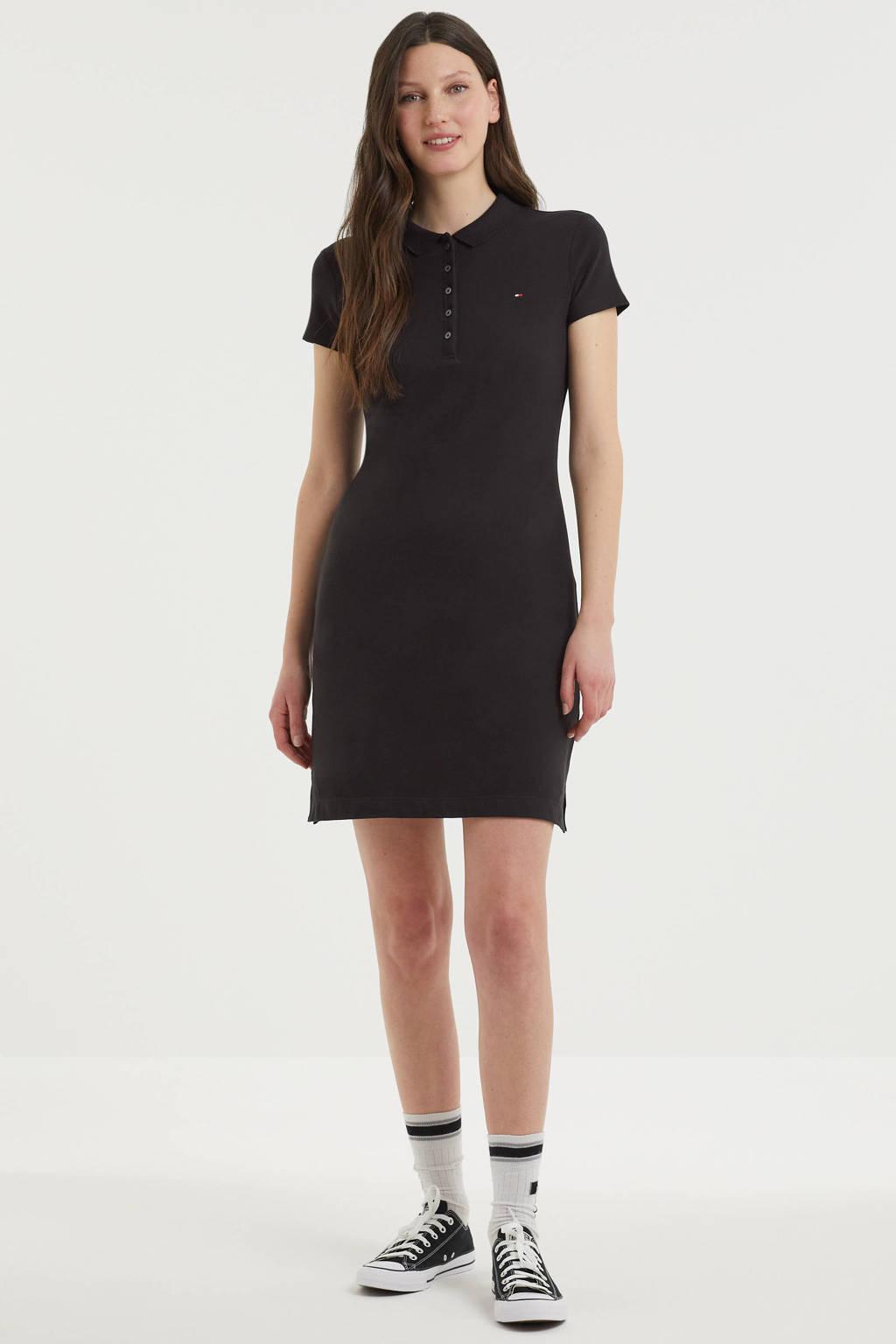 Tommy Hilfiger jersey jurk met polokraag zwart, Zwart