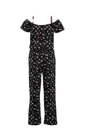 gebloemde off shoulder jumpsuit zwart/roze/wit