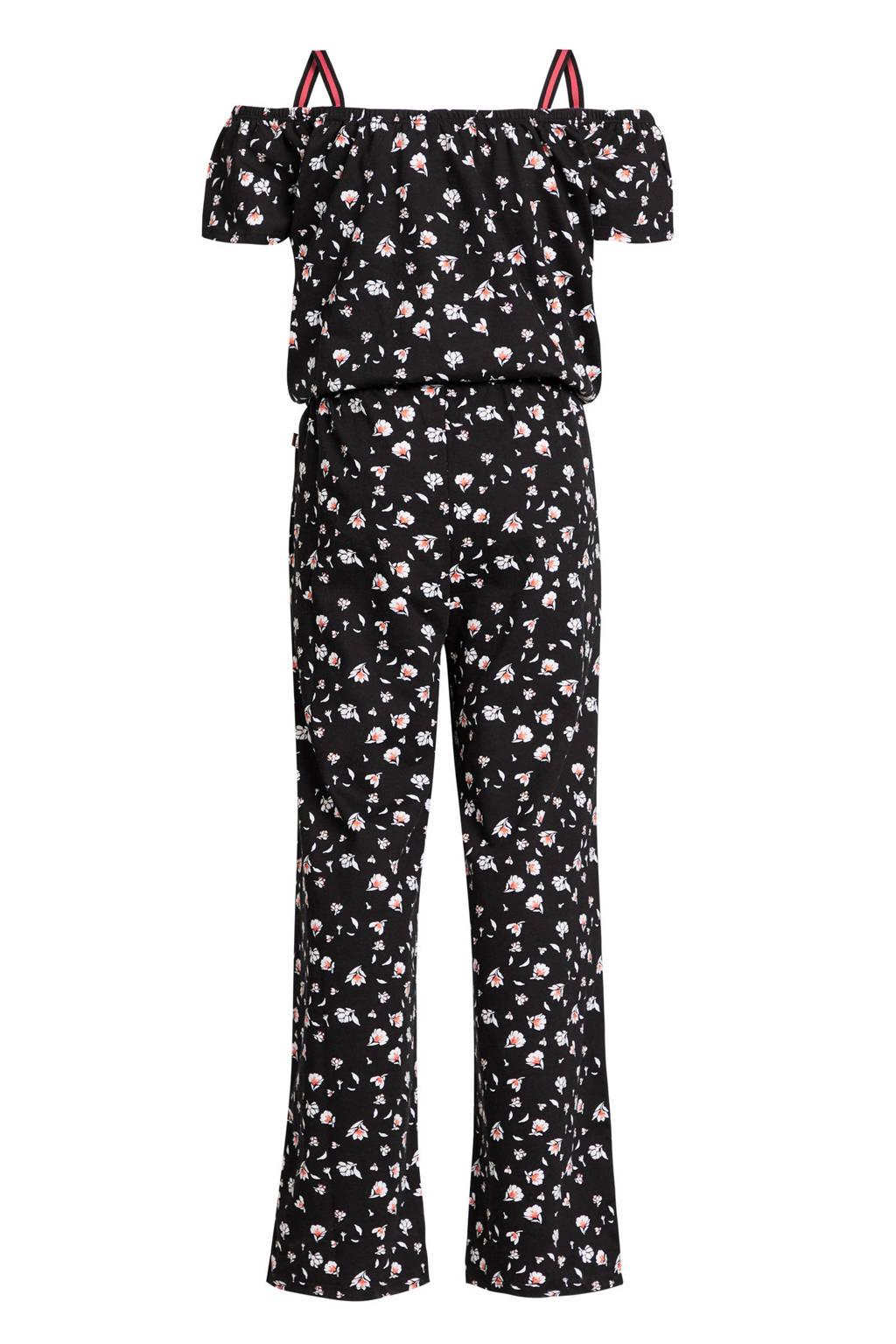 WE Fashion gebloemde off shoulder jumpsuit zwart/roze/wit, Zwart/roze/wit