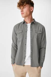 C&A Clockhouse regular fit overhemd grijsgroen, Grijsgroen
