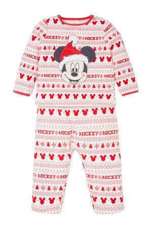 Mickey Mouse kerstpyjama wit/rood