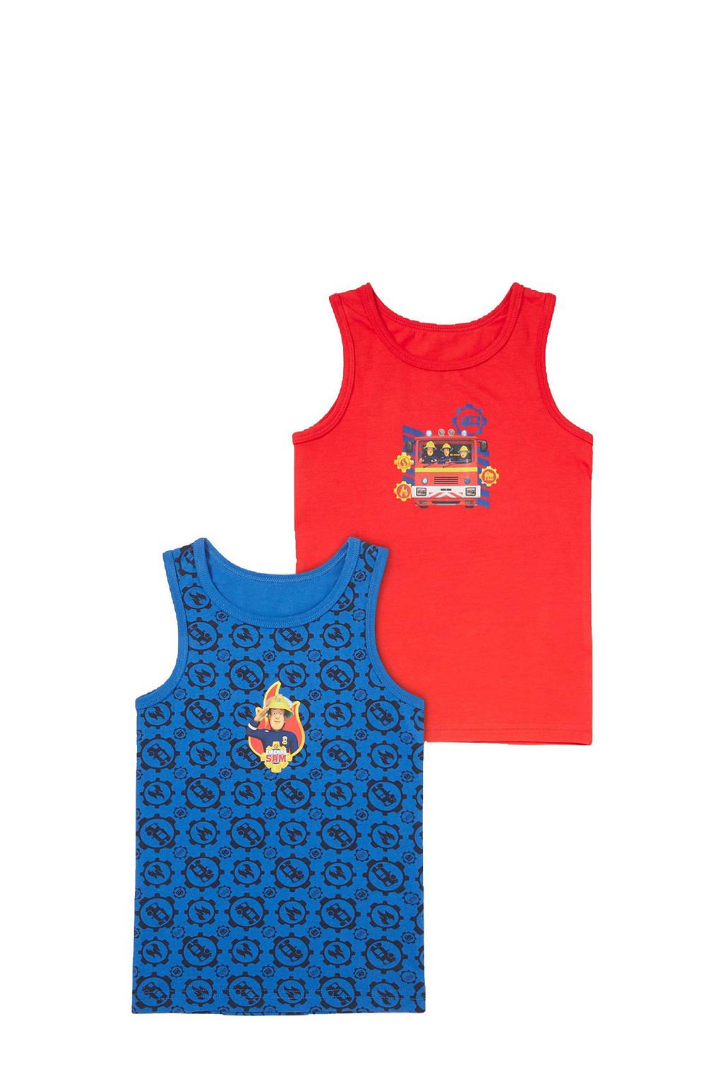 C&A Here & There Brandweerman Sam hemd - set van 2 blauw/rood, Rood/blauw