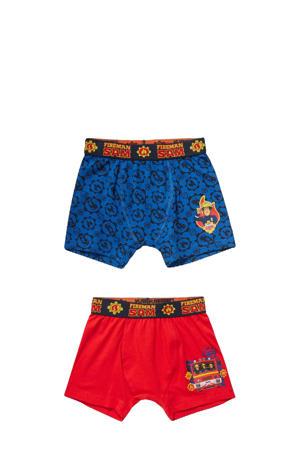 boxershort Fireman Sam - set van 2 rood/blauw