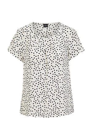 top met all over print ecru/zwart