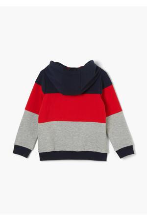 hoodie grijs melange/rood/donkerblauw