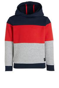 s.Oliver hoodie grijs melange/rood/donkerblauw, Grijs melange/rood/donkerblauw