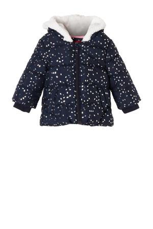 gewatteerde winterjas met all over print donkerblauw/wit
