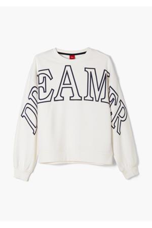 sweater met tekst ecru/donkerblauw