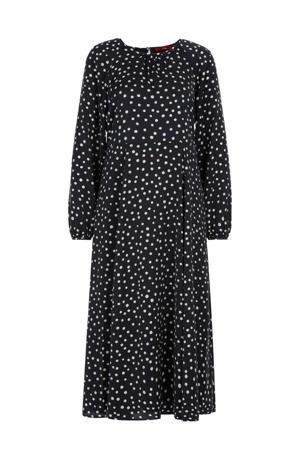 maxi jurk met stippen blauw/wit