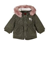s.Oliver  winterjas met all over print en pailletten donkergroen/roze, Donkergroen/roze