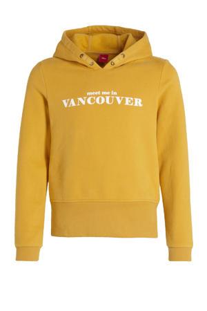 hoodie met printopdruk geel/wit