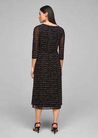s.Oliver BLACK LABEL semi-transparante jurk met all over print en plooien zwart/ecru/oranje, Zwart/ecru/oranje