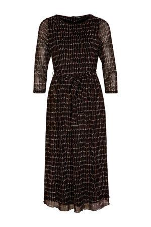 semi-transparante jurk met all over print en plooien zwart/ecru/oranje