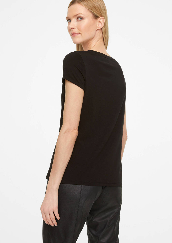 comma T-shirt met tekst en strass steentjes zwart, Zwart
