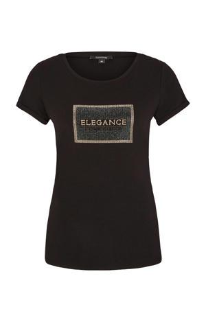 T-shirt met tekst en strass steentjes zwart