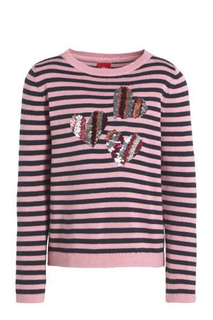 gestreepte trui roze/zwart