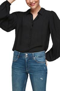 Q/S designed by semi-transparante blouse zwart, Zwart