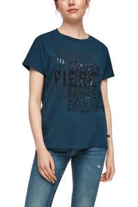 Q/S designed by T-shirt met printopdruk en pailletten petrol/zwart, Petrol/zwart